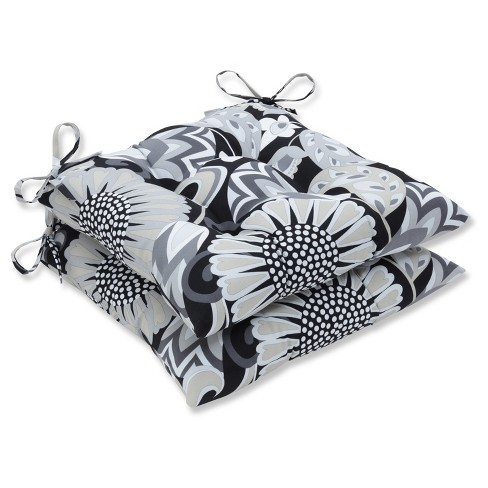 Outdoor/Indoor Sophia Black Wrought Iron Seat Cushion Set of 2 - Pillow Perfect - image 1 of 1