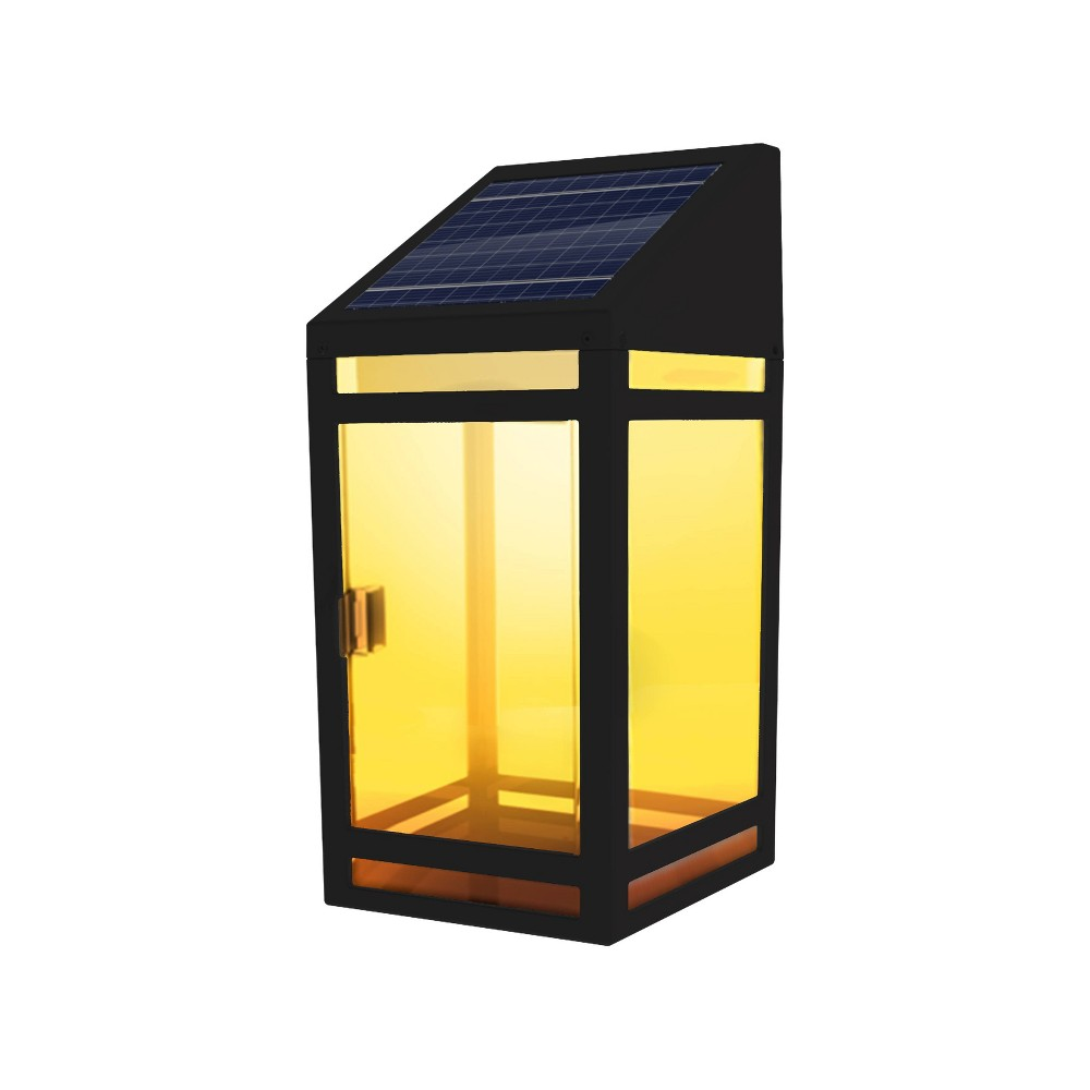 Image of LED Solar Outdoor Wall Panel Lantern with Clear Panel - Techko Kobot