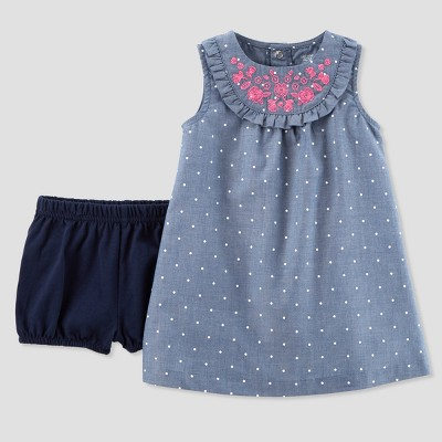 Baby Girls' 1pc Chambray Dress - Just One You® made by carter's Blue 6M