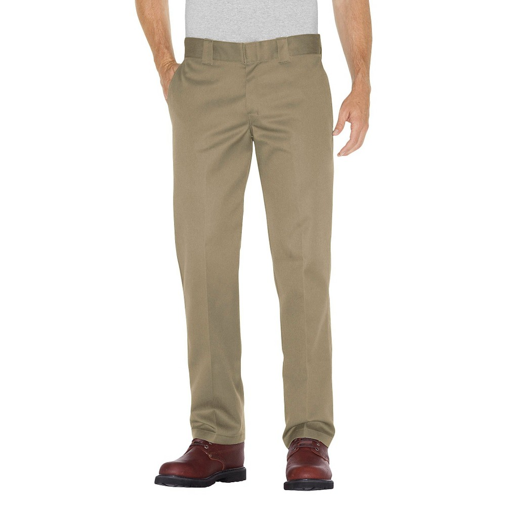 Dickies Men's Slim Straight Fit Twill Pants- Khaki (Green) 30x32