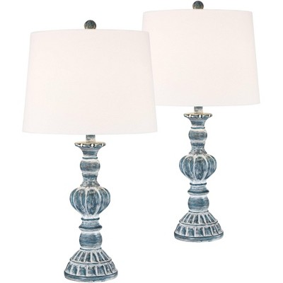 Regency Hill Traditional Table Lamps Set of 2 Blue Washed Tapered Drum Shade for Living Room Bedroom Bedside Nightstand Family