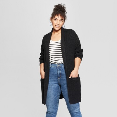 Women's Plus Size Textured Cardigan - Ava & Viv™ Black 1X