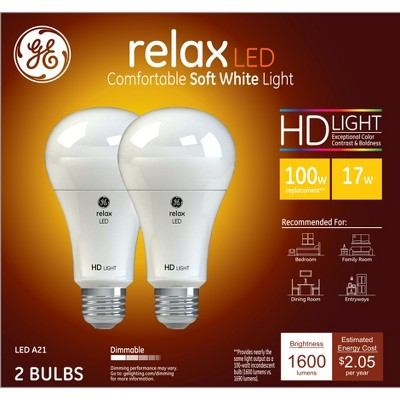 General Electric 100w 2pk A21 LED Bulb White