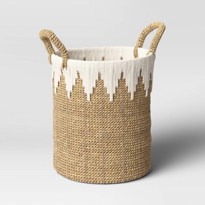 "11"" x 15"" Braided Basket with Rope Natural/White - Opalhouse™"