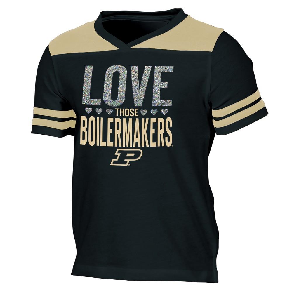 Purdue Boilermakers Girls' Short Sleeve Team Love V-Neck T-Shirt L, Multicolored