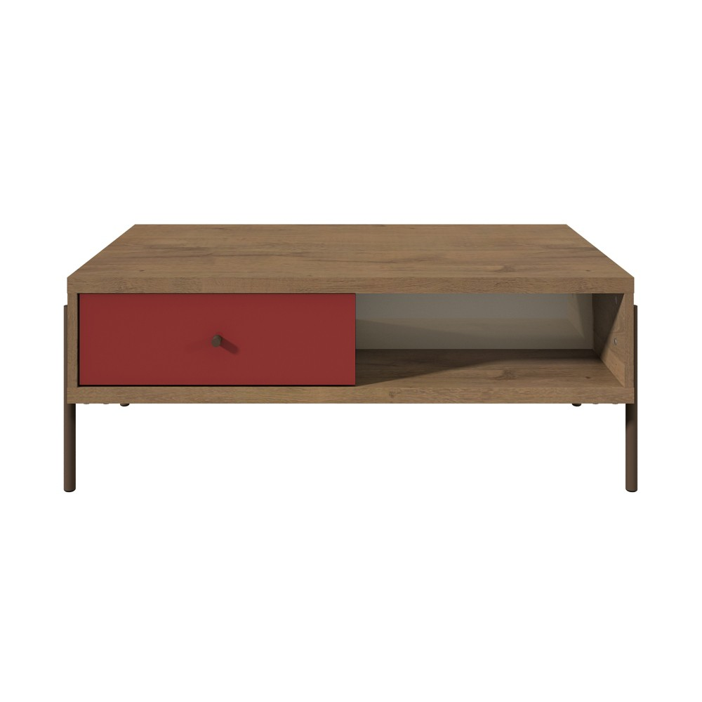 Joy Double Sided End Table Red/Off-White (Red/Beige) - Manhattan Comfort