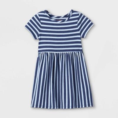 Toddler Girls' Short Sleeve Dress - Cat & Jack™ Navy/White 4T