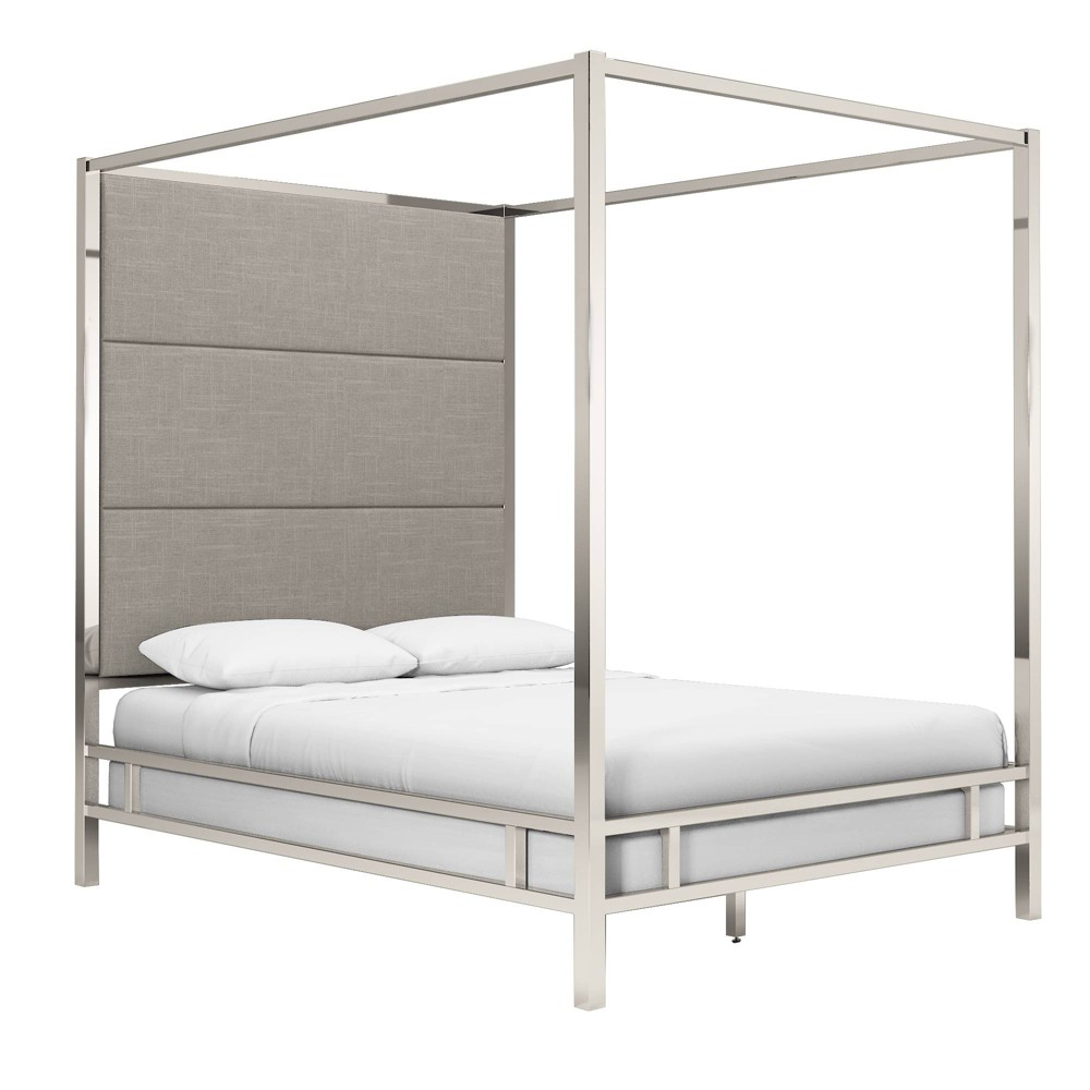 Queen Evert Chrome Metal Canopy Bed with Panel Headboard Smoke (Grey) - Inspire Q