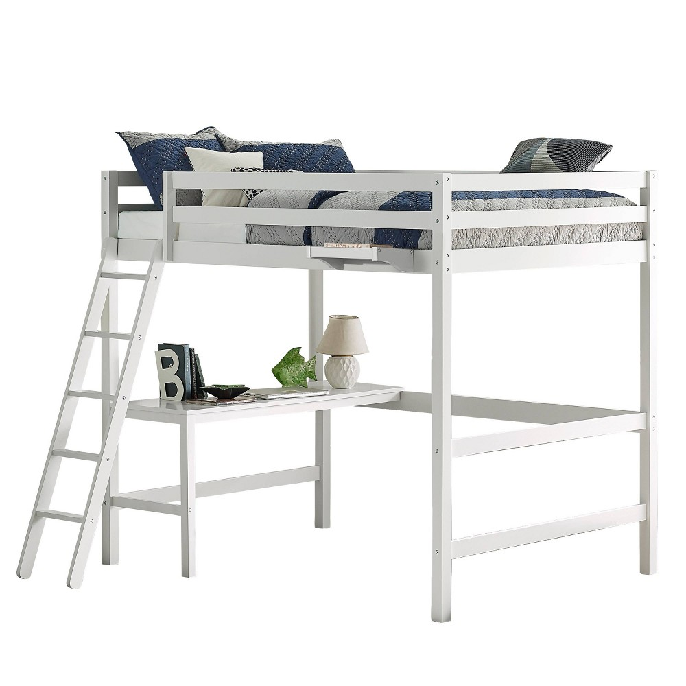 Caspian Loft Bed with Hanging Nightstand White - Hillsdale Furniture Full Caspian Loft Bed with Hanging Nightstand White - Hillsdale Furniture