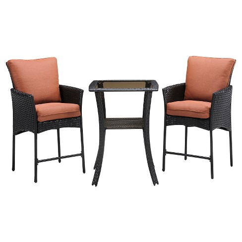 Strathmere Allure 3pc All-Weather Wicker Outdoor High-Dining Bistro Set - Woodland Rust - Hanover - image 1 of 1