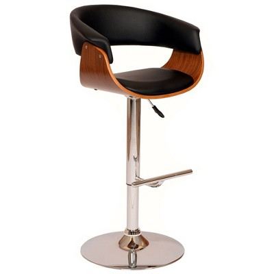 Paris Swivel Barstool Black/Walnut - Armen Living