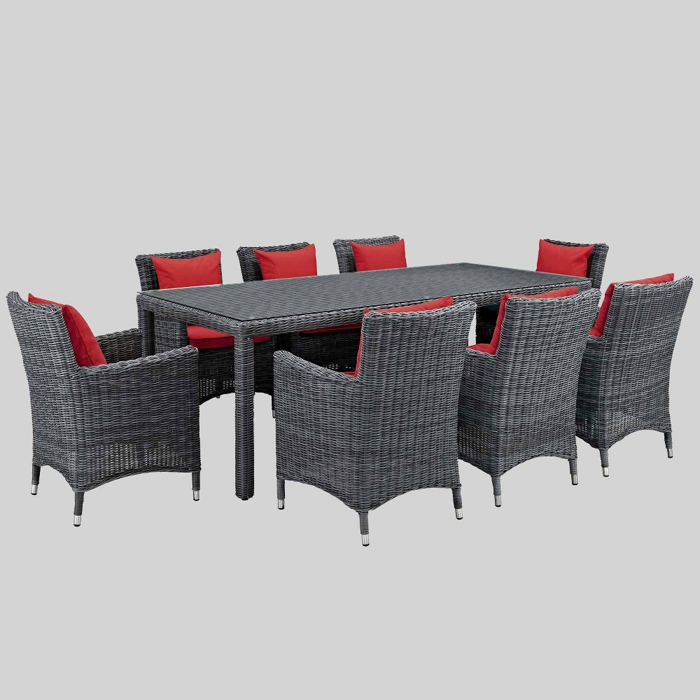 Summon 9pc Outdoor Dining Set with Sunbrella Fabric - Red - Modway