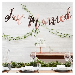 Just Married Party Decoration Banner Bronze Target