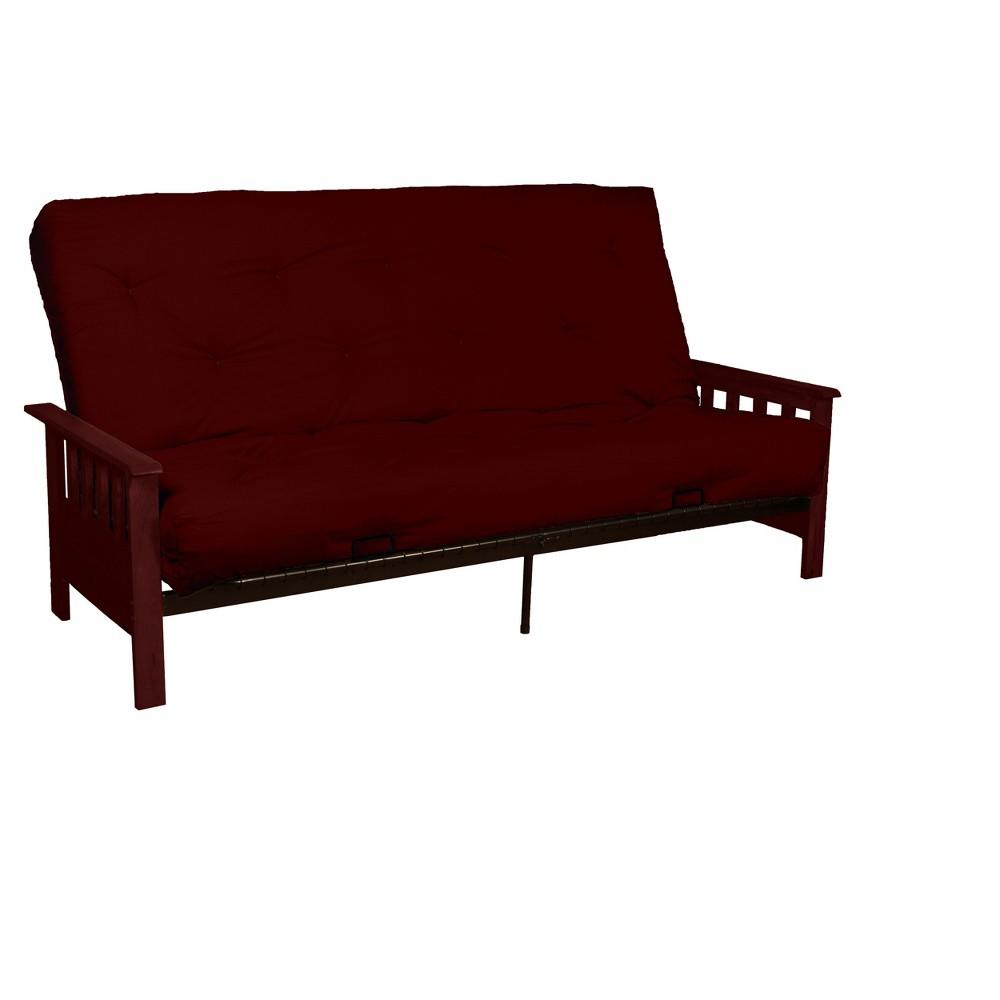 8 Mission Cotton/Foam Futon Sofa Sleeper Mahogany Wood Finish Crimson (Red) - Epic Furnishings