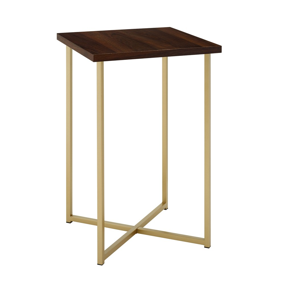 "Image of ""16"""" Square Side Table Dark Walnut/Gold - Saracina Home, Dark Brown/Gold"""