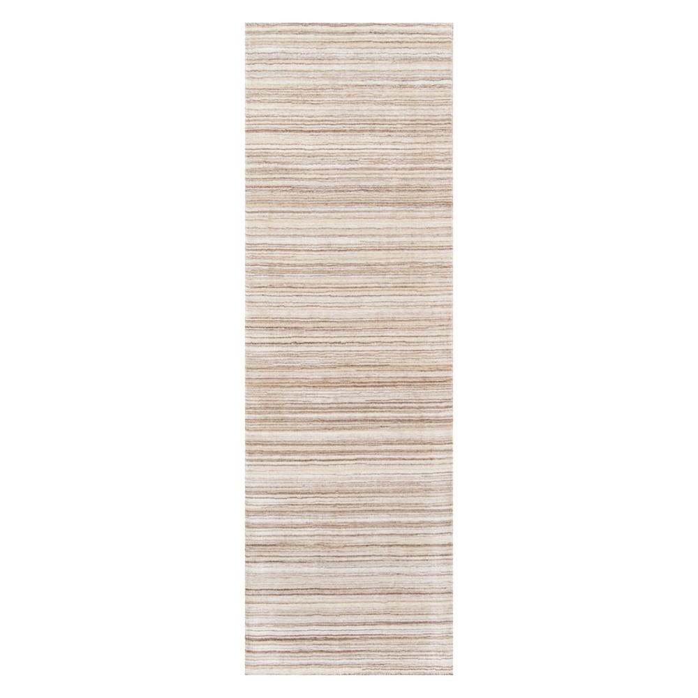 2'6X8' Stripe Loomed Runner Beige - Momeni