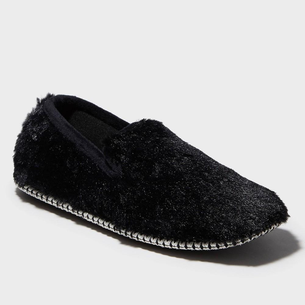 Image of Women's dluxe by dearfoams Helen Chenille Loafer Slippers - Black M(7-8), Size: Medium (7-8)