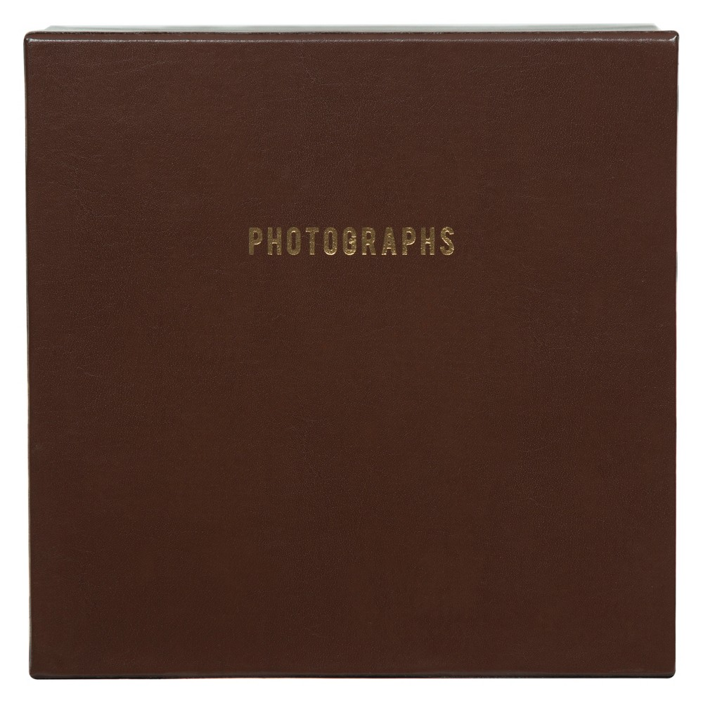 "Image of ""Pinnacle Albums 9.5"""" x 9.5"""" Premium Leather Photo Albums Set Brown"""