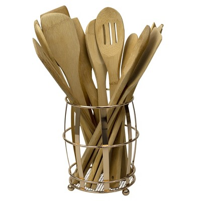 Home Basics Lyon Cutlery Holder with Mesh Bottom and Non-Skid Feet, Rose Gold
