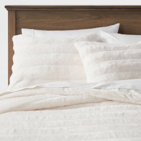 Textured Faux Fur Comforter & Sham Set - Threshold&#153 - image 1 of 4