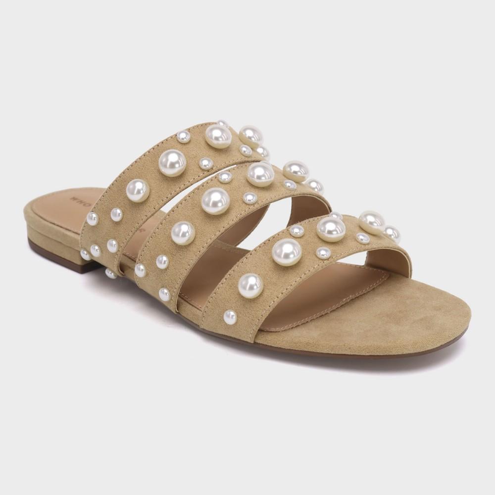 Women's Clara Pearl Three Band Slide Sandals - Who What Wear Tan 9, Beige
