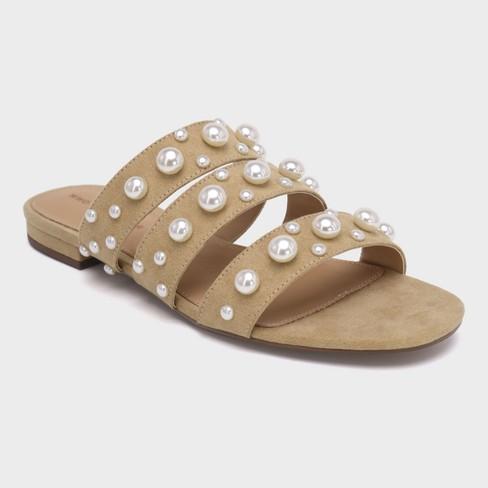 677166d3b5ab Women s Clara Pearl Three Band Slide Sandals - Who What Wear™ Tan