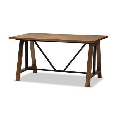 Nico Rustic Industrial Metal And Distressed Wood Adjustable Height Work  Table Brown   Baxton Studio