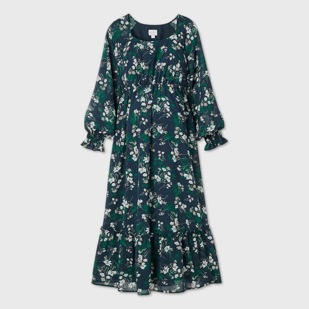Reviews Floral Print Long Sleeve Chiffon aternity Dress - Isabel aternity by Ingrid & Isabel™