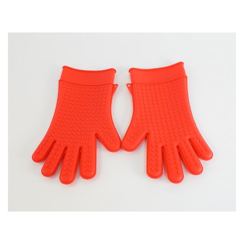 1pr Silicone Grilling Gloves Red - Evergreen - image 1 of 1