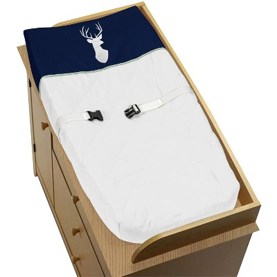 Sweet Jojo Designs Changing Pad Cover - Navy & Mint Woodsy