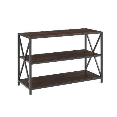 "X Frame Metal and Wood Media Bookshelf TV Stand for TVs up to 43"" - Saracina Home"