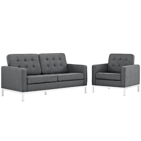 Set of 2 Loft Living Room Set Upholstered Fabric Gray - Modway - image 1 of 4