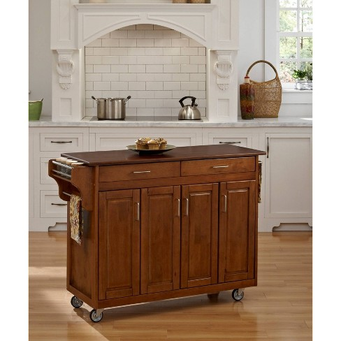 Kitchen Carts And Islands with Wood Top Red/Brown - Home Styles