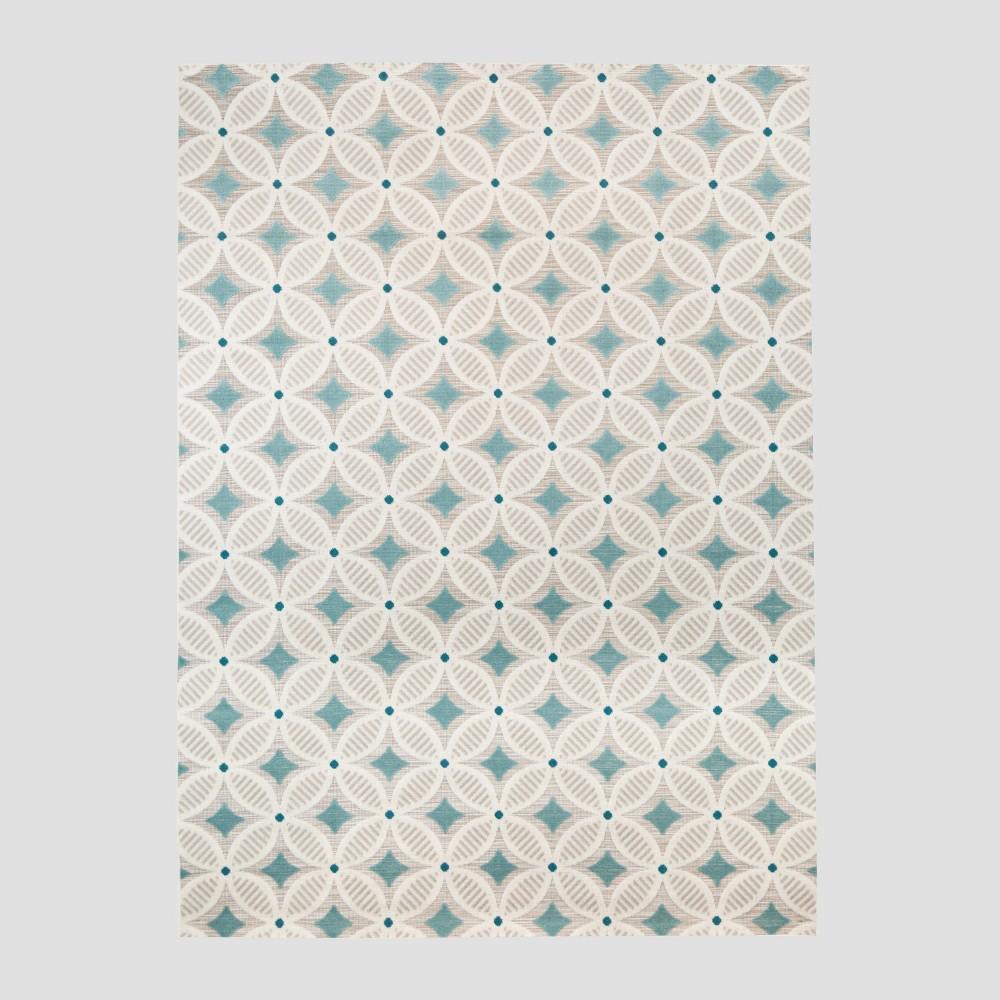 7' x 10' Quatrefoil Outdoor Rug Aqua - Opalhouse, Blue