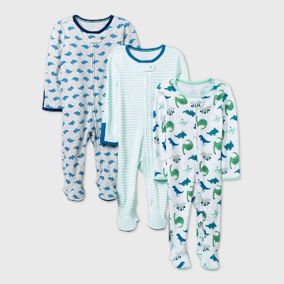 Baby Boys' 3pk Dino Dreams Sleep N' Play - Cloud Island™ Blue 0-3M