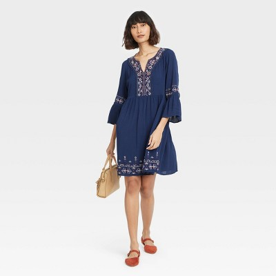 Women's Long  Sleeve Embroidered Shift Dress - Knox Rose™ Navy