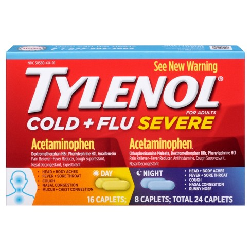 Tylenol Cold+Flu Severe Day/Night Caplets - Acetaminophen - 24ct - image 1 of 2