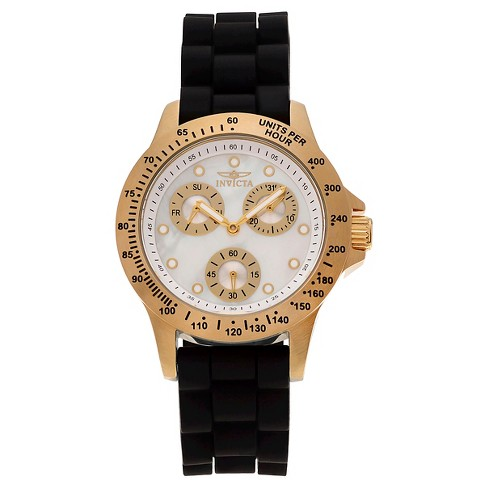 Women's Invicta 21973 Speedway Quartz Chronograph White Dial Strap Watch - Black - image 1 of 3