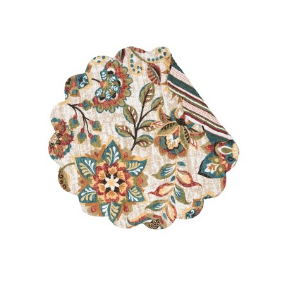C&F Home Fiona Cotton Quilted Round Reversible Placemat Set of 6