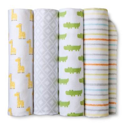 Flannel Baby Blankets Snooz'n Safari 4pk - Cloud Island™ Yellow