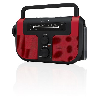 WeatherX WB/AM/FM Solar Charge Radio - Red (WR383R)