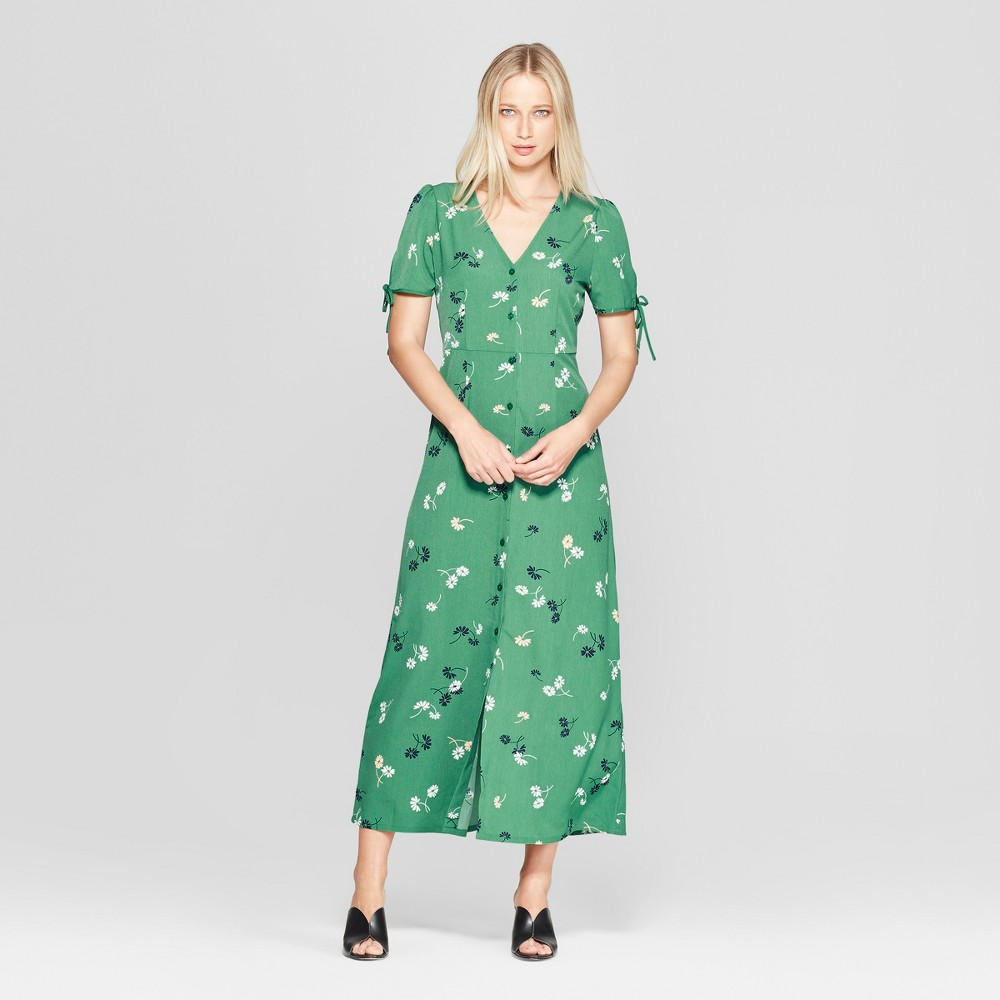 Women's Floral Print Short Tie Sleeve V-Neck Button Detail Maxi Dress - Who What Wear Green XS