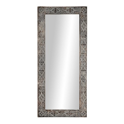 "32"" x 71"" Large Rectangular Wooden Wall Mirror with Hand Carved Eclectic Design and Whitewash Finish - Olivia & May"