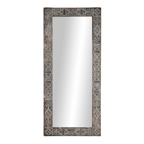32 X 71 Large Rectangular Wooden Wall, Carved Wood Mirror Target
