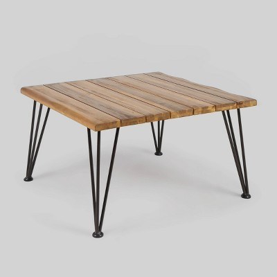 Zion Acacia Wood Square Patio Coffee Table - Teak - Christopher Knight Home