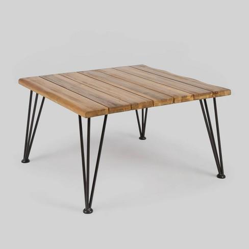 Zion Acacia Wood Square Patio Coffee Table Teak Christopher Knight Home Target
