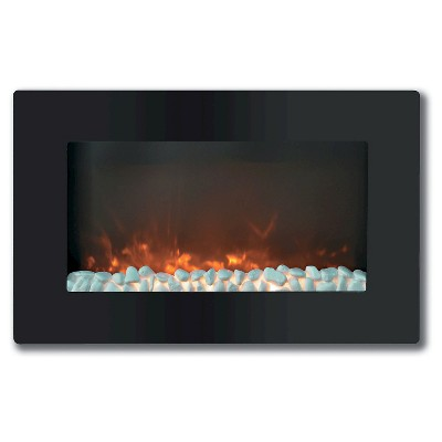 "Cambridge CAM30WMEF-1BLK Callisto 30"" Wall-Mount Electronic Fireplace with Flat Panel and Crystal Rocks"