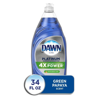 Dawn Platinum Bleach Alternative Dishwashing Liquid Dish Soap, Green Papaya Scent - 34 fl oz