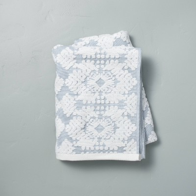 Geo Medallion Bath Towel Faded Blue - Hearth & Hand™ with Magnolia