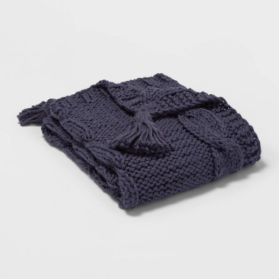 Chunky Cable Knit Throw Blue - Threshold™